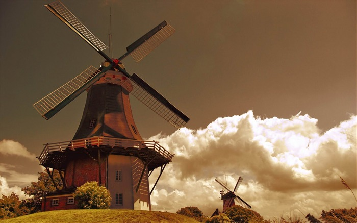 windmills in the netherlands-Vintage style wallpaper Views:15598