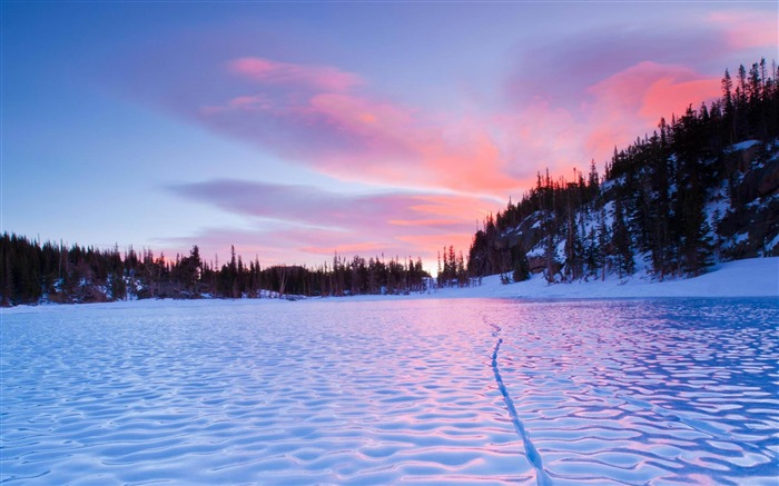 Frozen Lake Sunset Natural Scenery Wallpaper Views13765