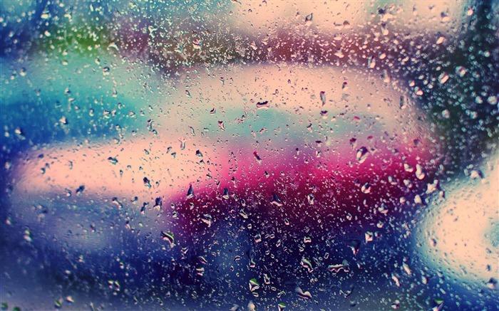 Glass Rain Droplets Colorful-High Quality wallpaper Views:21263