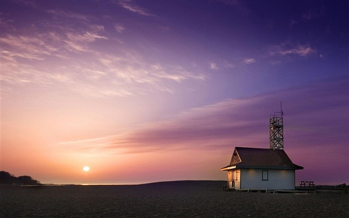 Lifeguard House Sunset-Nature Landscape Wallpapers Views:6176