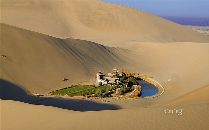 Near Mingsha and Crescent Moon Spring in Dunhuang Silk Road-Bing Wallpaper Views:63988