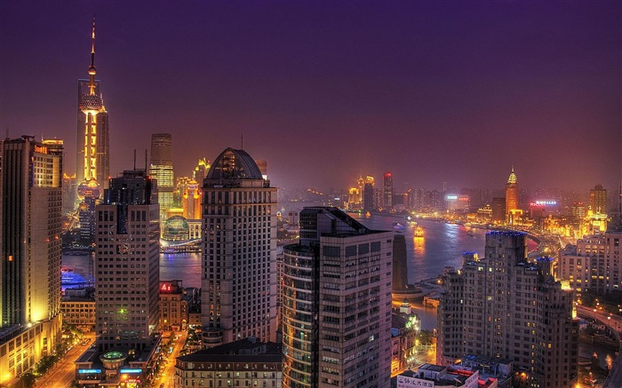 Shanghai Night view China-City photography wallpaper Views:26963