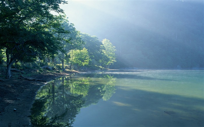 green lake in forest-Nature Landscape Wallpapers Views:12436
