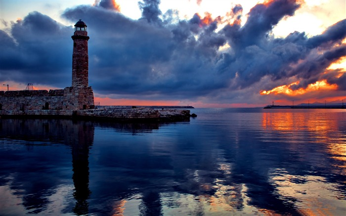 lighthouse at sunset-Nature Landscape Wallpapers Views:5922