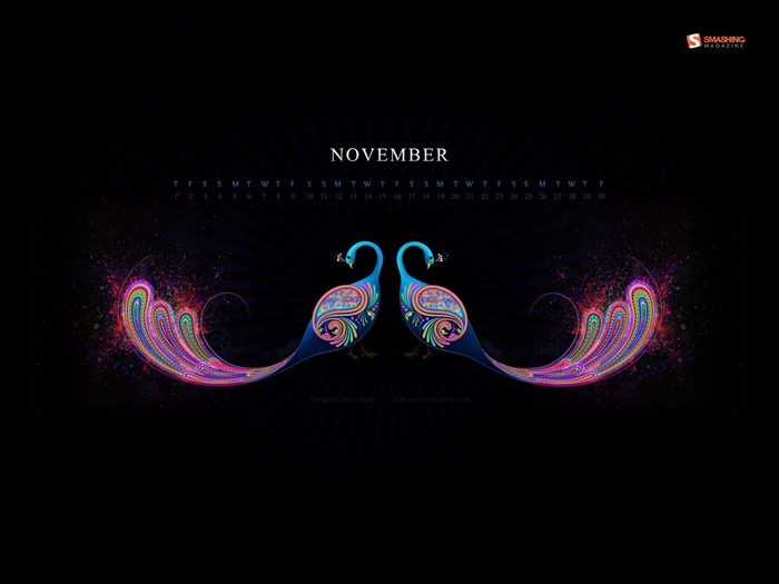 Abstract Peacock-November 2012 calendar wallpaper Views:6540