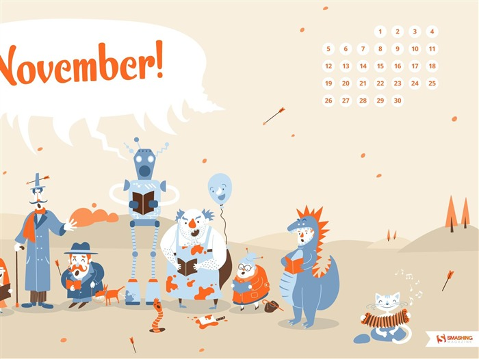 Autumn Choir-November 2012 calendar wallpaper Views:5030