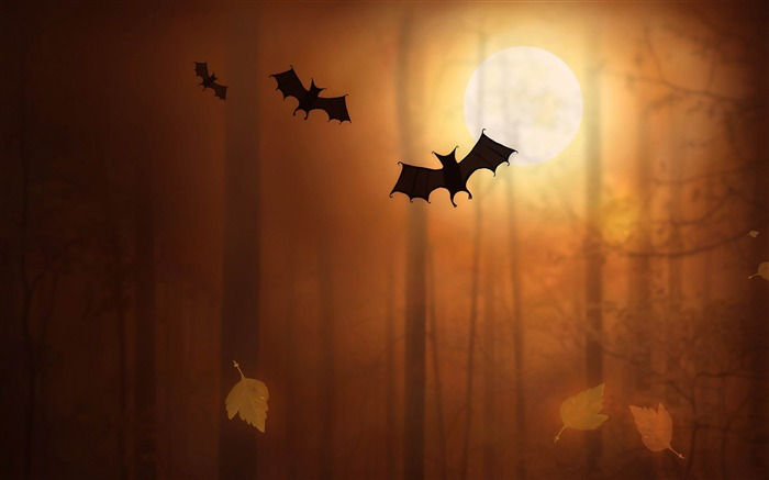 Bats dusk-2012 Happy Halloween theme Wallpapers Views:5155