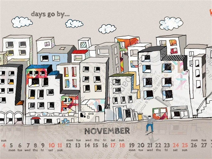 Days Go By-November 2012 calendar wallpaper Views:4602