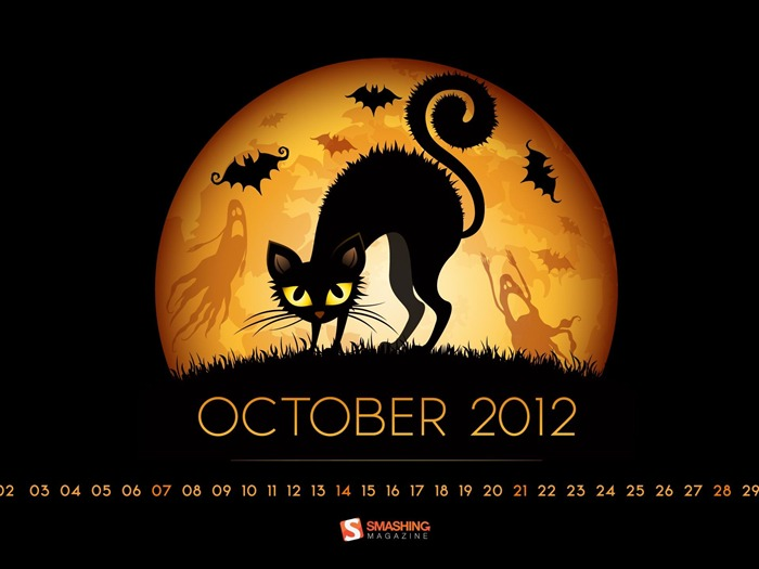 October 2012 calendar desktop themes wallpaper Views:15551