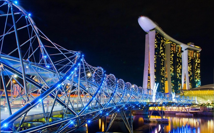 Marina Bay Sands Lamp Night Singapore-architectural landscape wallpaper Views:21299