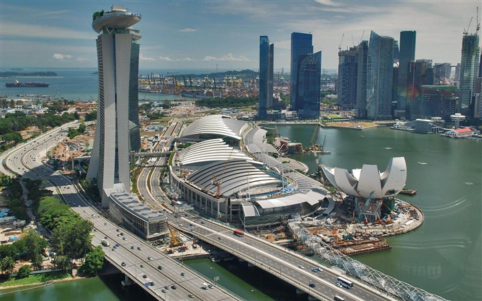 Marina Bay Sands Traffic Singapore-architectural landscape wallpaper Views:14618