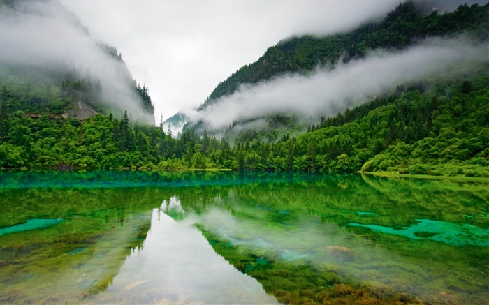 Morning mist in the Jiuzhaigou-MAC OS X Mountain Lion HD Wallpapers Views:34074