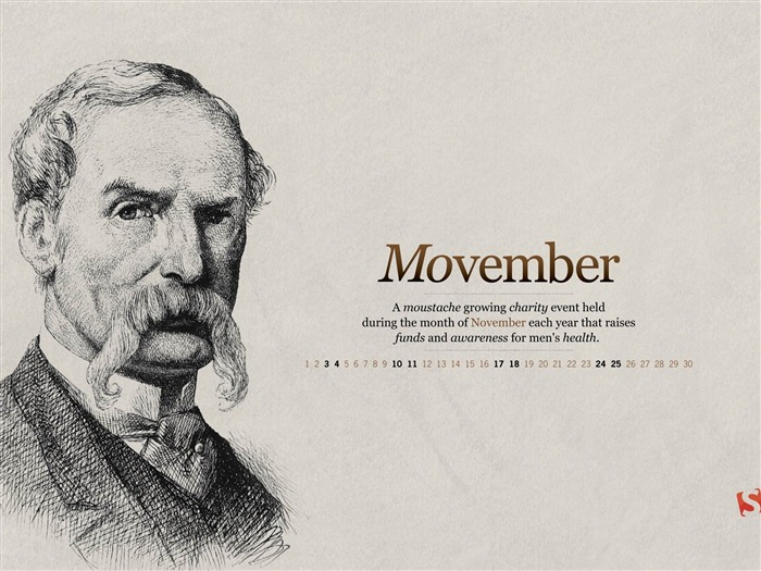 Moustache Movember-November 2012 calendar wallpaper Views:5687