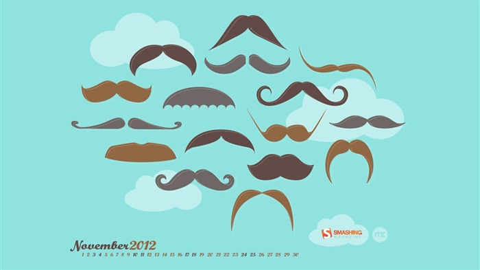 Mustache Movember-November 2012 calendar wallpaper Views:18785