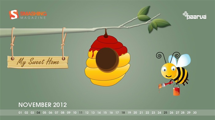 My Sweet Home-November 2012 calendar wallpaper Views:6517