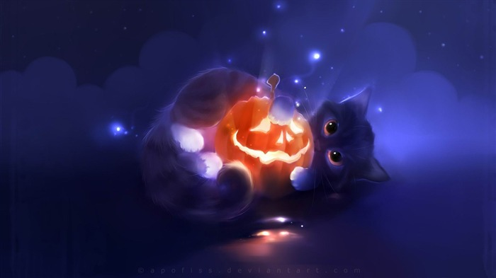 kitty-2012 Happy Halloween theme Wallpapers Views:5461