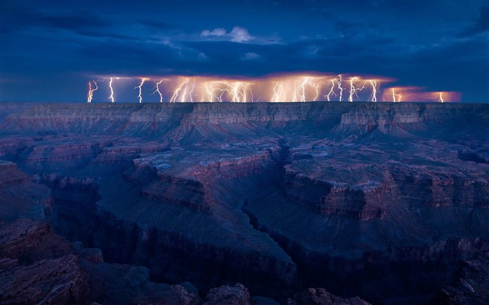 grand canyon Lightning-nature scenery wallpapers Views:8968