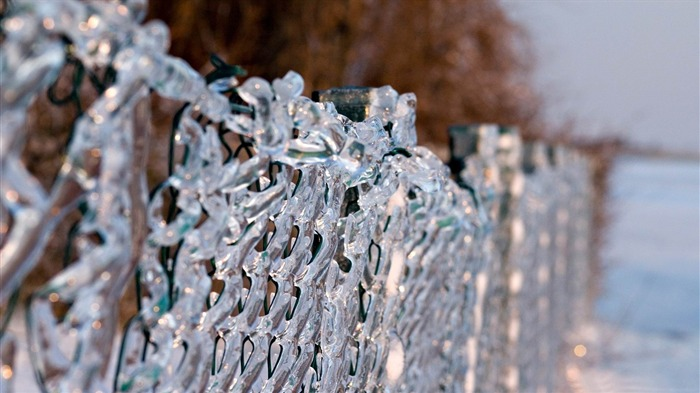 ice fence-Winter natural landscape wallpaper Views:3618