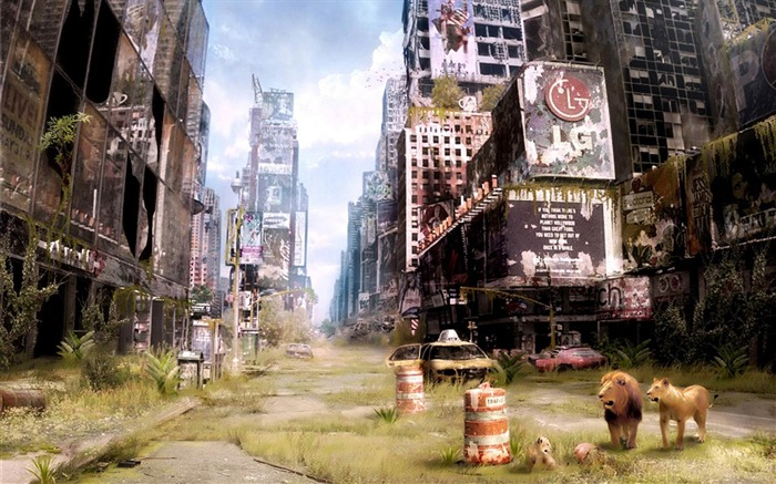 Abandoned Times Square in New York-Aftermath world illustrator wallpaper Views:9326