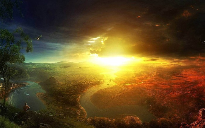 Brilliant sunset-Aftermath world illustrator wallpaper Views:5383