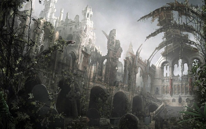 Destroyed cathedral-Aftermath world illustrator wallpaper Views:16593