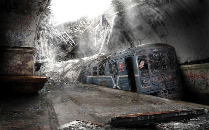 Destroyed the railway station-Aftermath world illustrator wallpaper Views:9477