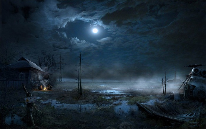 House of the swamp in the moonlight-Aftermath world illustrator wallpaper Views:15990