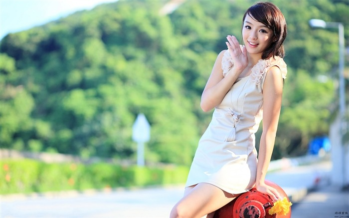 Pure leggy girls street shooting photo desktop wallpaper 01 Views:5535