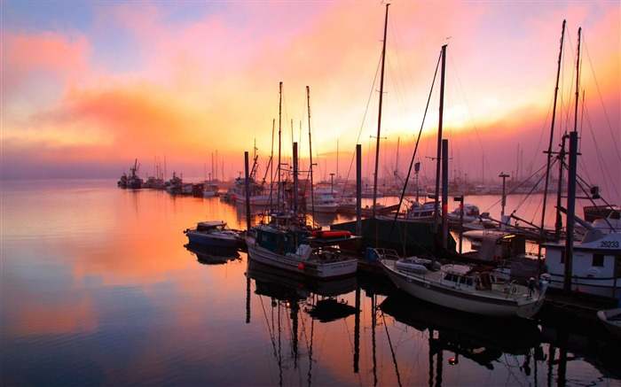 harbor sunset-Natural landscape Photography Wallpaper Views:4599