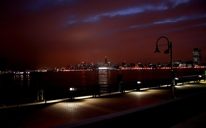 new york skyline dusk-Natural landscape Photography Wallpaper Views:4914