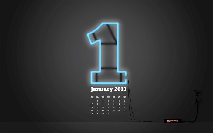 Blue Neon Sign-January 2013 calendar desktop themes wallpaper Views:9476 Date:1/1/2013 5:21:58 AM