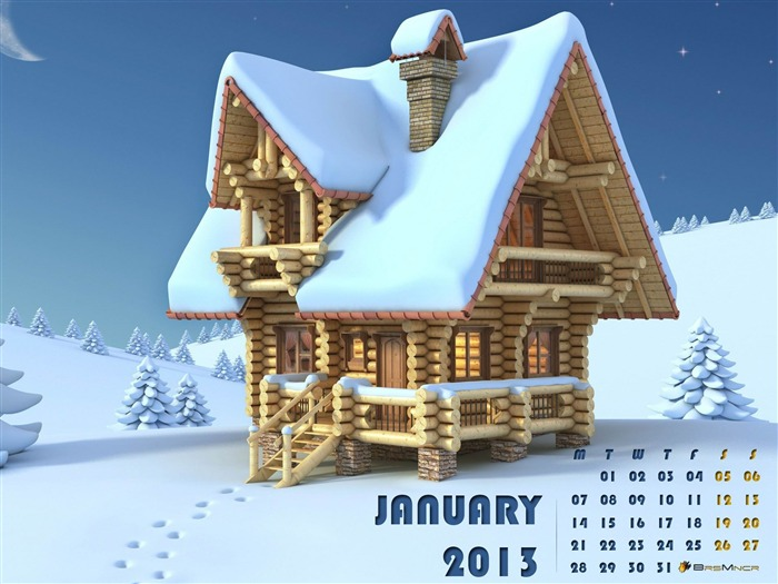 Happiness In Winter-January 2013 calendar desktop themes wallpaper Views:8886 Date:1/1/2013 5:25:48 AM
