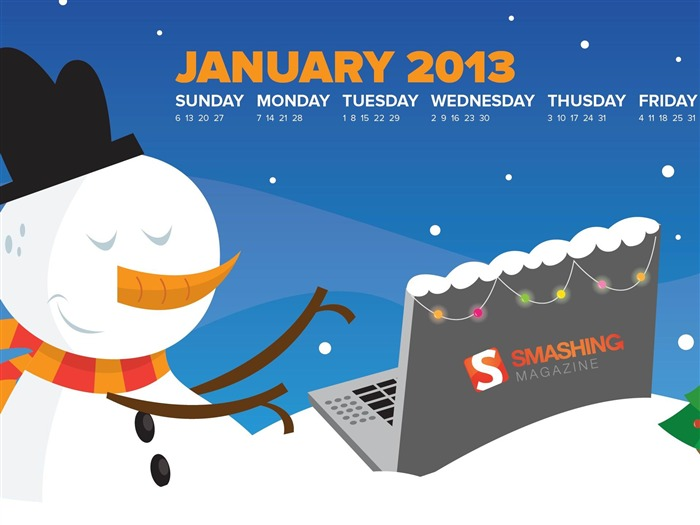 Merry Smashing Christmas-January 2013 calendar desktop themes wallpaper Views:7192 Date:1/1/2013 5:20:15 AM