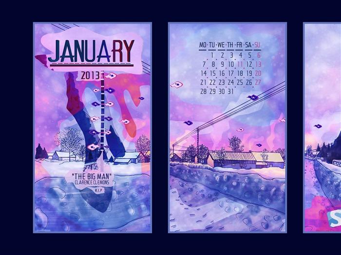 Calendar Theme Wallpaper : The edge january calendar desktop themes wallpaper