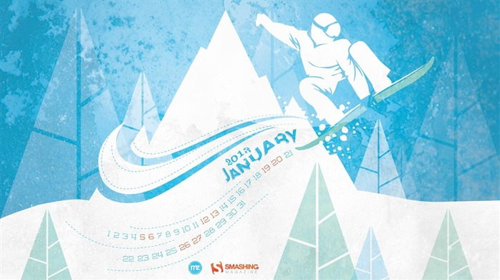 The Season To Snowboard-January 2013 calendar desktop themes wallpaper Views:7173 Date:1/1/2013 5:30:34 AM