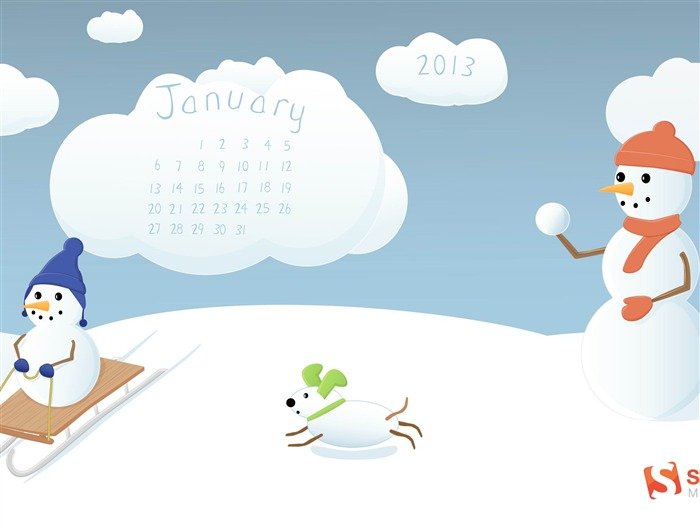 Winter Fun-January 2013 calendar desktop themes wallpaper Views:7926 Date:1/1/2013 5:32:25 AM