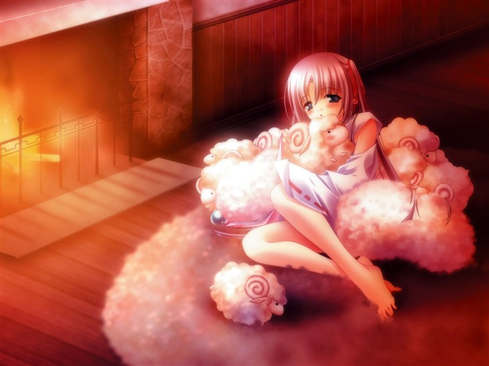 anime girl with little sheeps-Cute cartoon characters wallpaper Views:10733