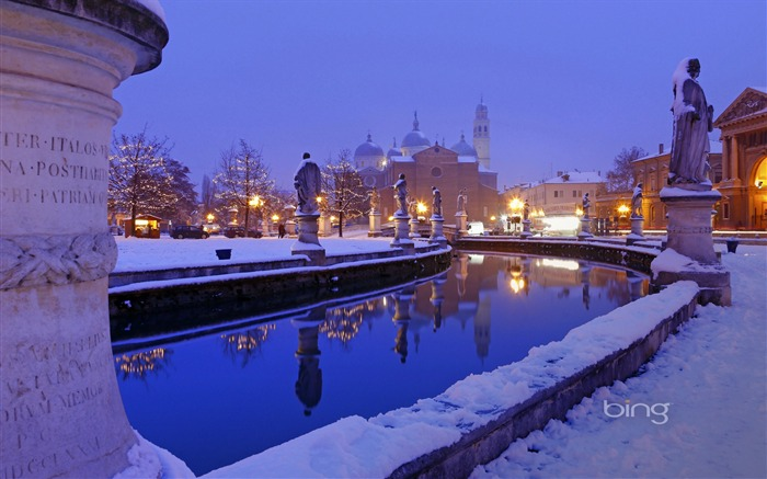City at night Snow-2013 Bing widescreen wallpaper Views:5613