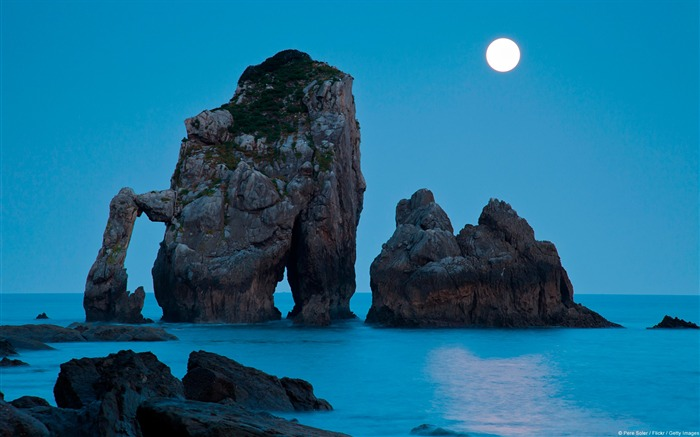 Moonset Spain on the Bay of Biscay-natural landscape HD wallpaper Views:6006