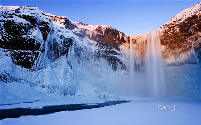 Snow and ice waterfall-2013 Bing widescreen wallpaper Views:4601