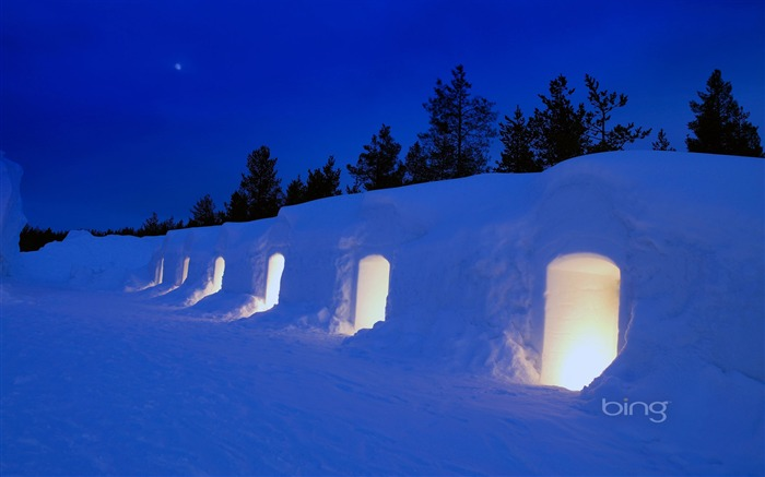 Snow cave-2013 Bing widescreen wallpaper Views:8897