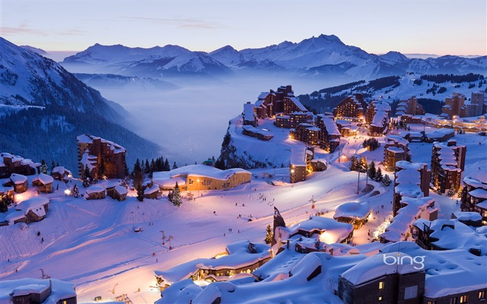 Snow covered town-2013 Bing widescreen wallpaper Views:8847