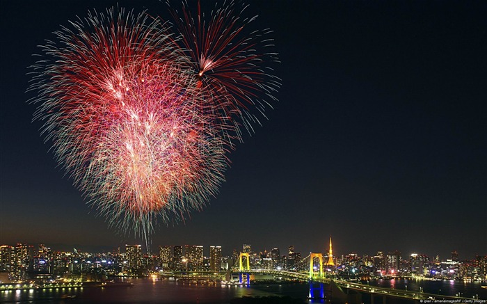 Tokyo field empty fireworks-Microsoft Windows Desktop Wallpaper Views:6826 Date:2/4/2013 1:17:13 AM