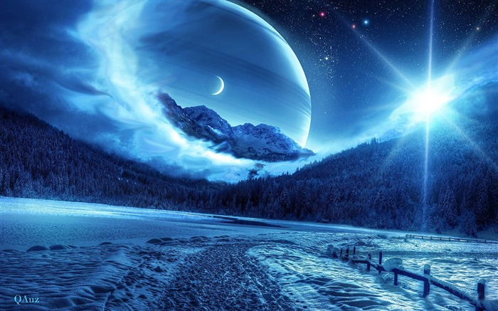 Winter Forest and Blue Space-Universe space HD Desktop Wallpaper Views:10230