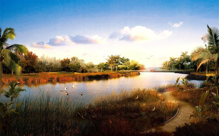 birds over the pond-Natural landscape widescreen wallpaper Views:4012