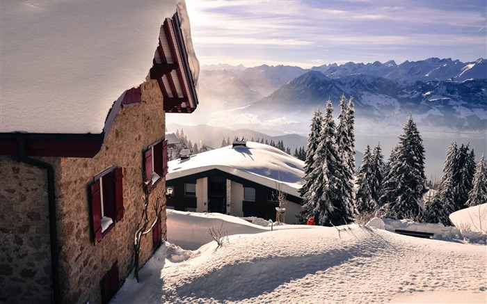 holiday houses on a snowy mountain-World scenery HD Photography Wallpaper Views:3274