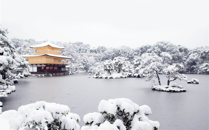 japanese house on a frozen lake-World scenery HD Photography Wallpaper Views:5225