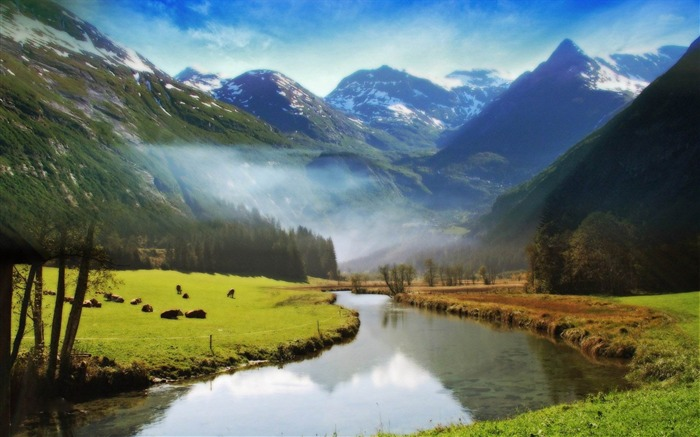 stream in the valley-Natural landscape widescreen wallpaper Views:4720