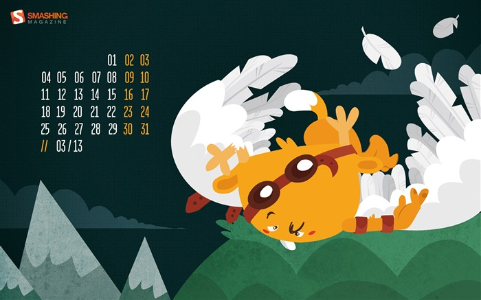 March 2013 calendar desktop themes wallpaper Views:9845