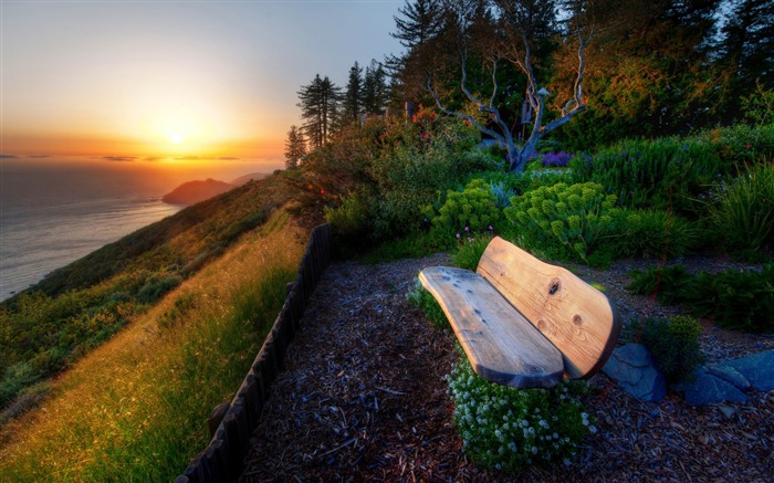 bench with sea view sunset-Natural landscape widescreen Wallpaper Views:5247 Date:3/24/2013 7:52:57 PM